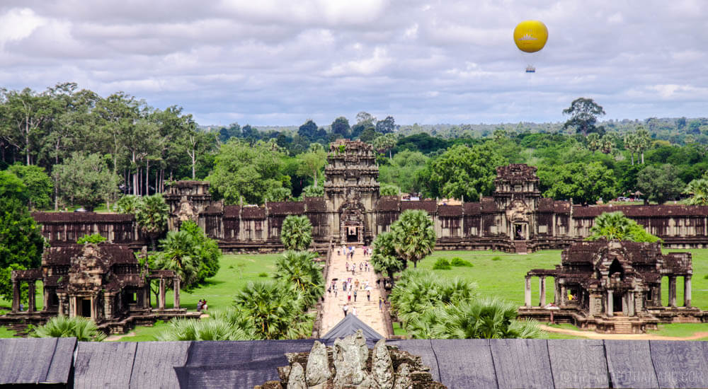 From within Angkor Wat, looked over the west entrance.
