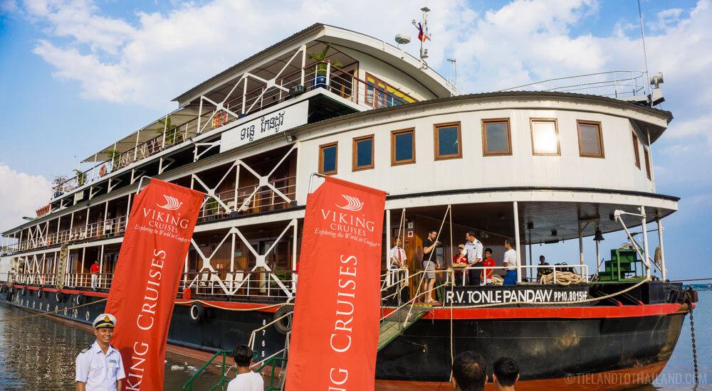 Boarding Viking's MS Mekong for our week long Mekong River cruise