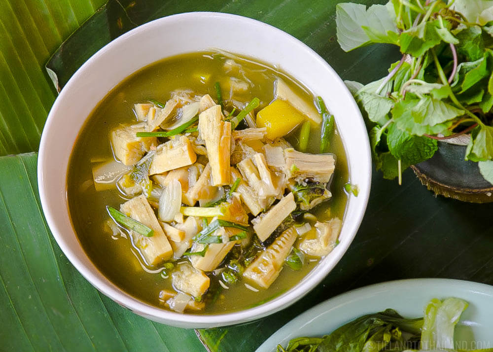 Isaan food in Thailand: Gaeng Naw Mai or Bamboo Curry Soup