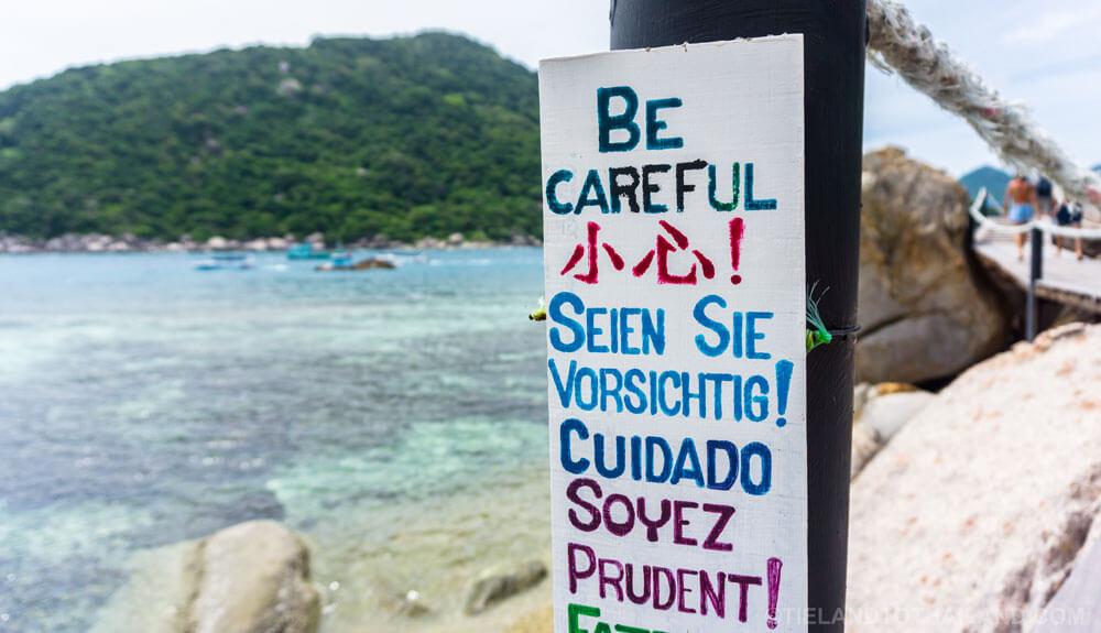 Be Careful! Sign on Koh Nang Yuan near Koh Tao, Thailand