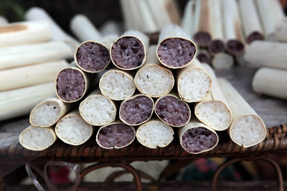 Thai Bamboo Sticky Rice - Khao Lahm | Food Guide to Thai Street Snacks