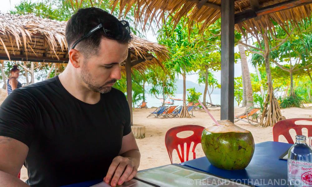 Ordering yummy Thai food at Bon Island Restaurant