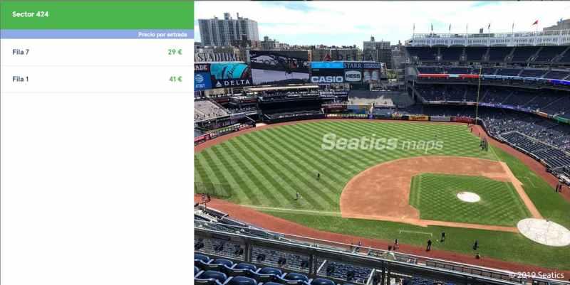 Detalle Yankee Stadium Entradas beisbol
