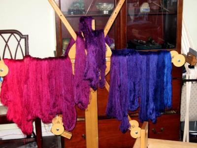 skeins of jewel colored silk yarn