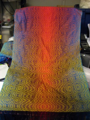 Third gradated-color shawl, before wet finishing