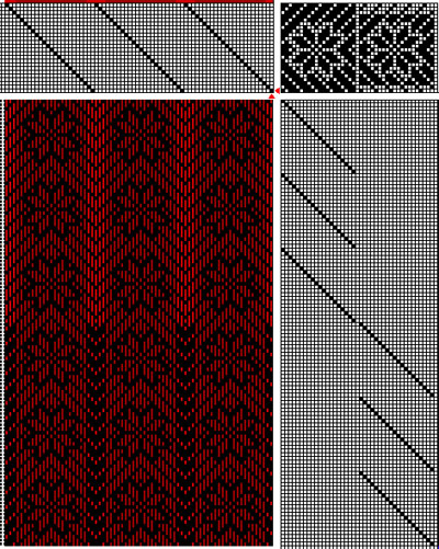 24-shaft flower weaving draft with twill background