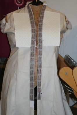 Printed simulations of the woven drafts for the wedding dress