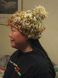 2008 funky knitted hat, side view