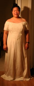 handwoven wedding dress, scalloped lace in front