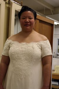 handwoven wedding dress, partially complete, closeup of front