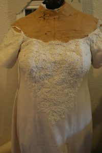 pearls on handwoven wedding dress