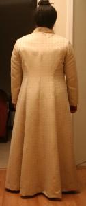 handwoven wedding dress, coat, rear view