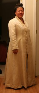 handwoven wedding dress, coat, three-quarter view