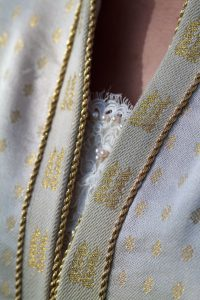Handwoven wedding dress, detail view