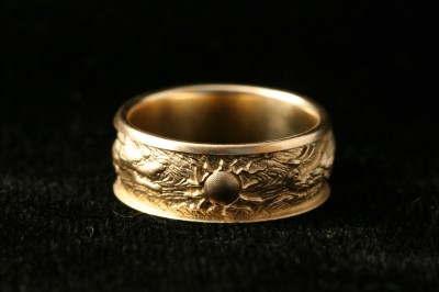 front of dragon - phoenix ring, carved by Carol Mortensen