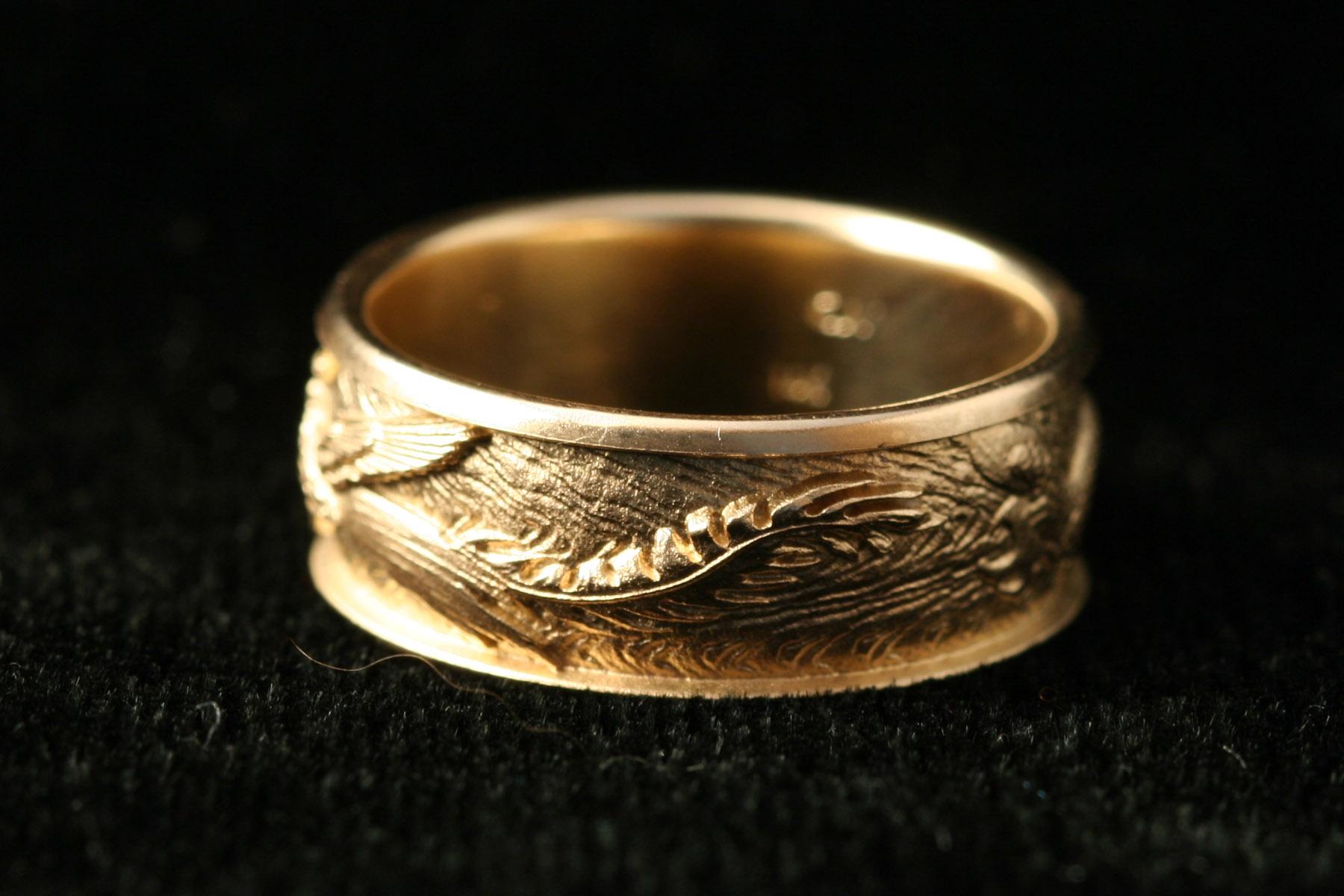 Dragon and phoenix wedding rings