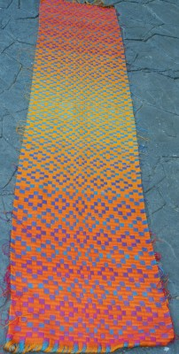 doubleweave shawl, orange side up, full view
