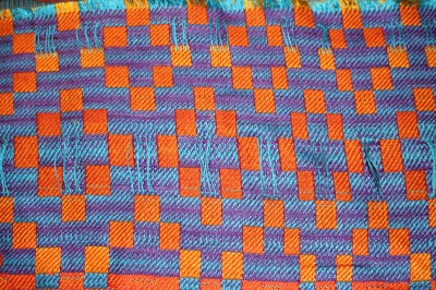 Wet-finished handwoven doubleweave sample, solid color warp and weft, back view