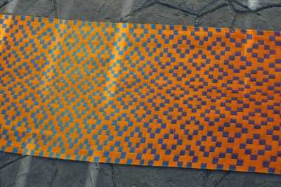 Second handwoven doubleweave shawl, orange side, center view