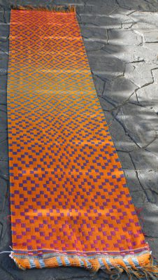 Second handwoven doubleweave shawl, orange side, full view