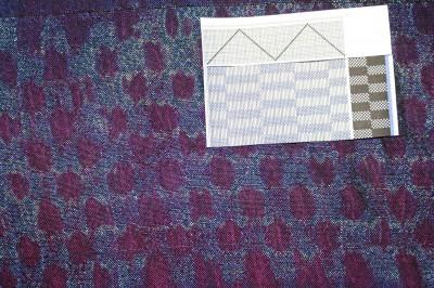 woven shibori, floats alternating with plain weave in blocks