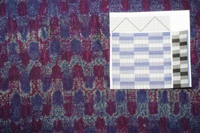woven shibori, complex block pattern of front/back floats and plainweave