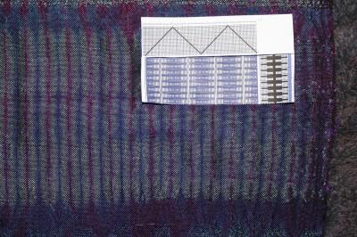 woven shibori, attempt at diamond pattern