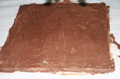 peanut butter gianduja, poured into a flat square form and ready to be bottomed, cut, and dipped