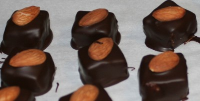 Chocolate-covered, almond-topped coconut almond fudge