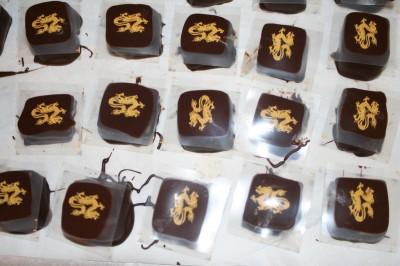 Jasmine tea chocolates, with a dragon design