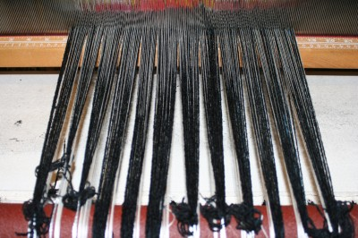 diversified plain weave warp, tied on and ready to weave!