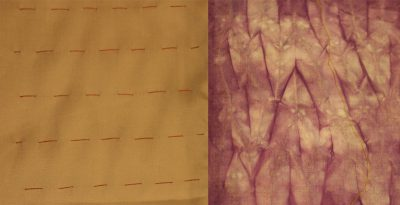 mokume shibori - long stitches, staggered
