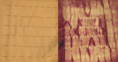 mokume shibori - long stitches vs. short stitches