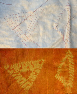 stitched shibori triangles