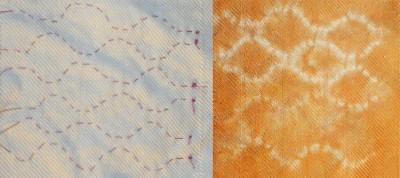 stitched shibori, wavy lines