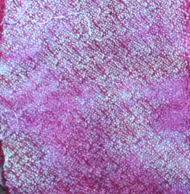 crepe weave, scrunch dyed in turquoise and purple fiber-reactive dyes, then scrunch dyed in fuchsia and burgundy acid dyes
