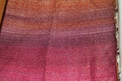 first sample, close-up, painted warp, knitted blank
