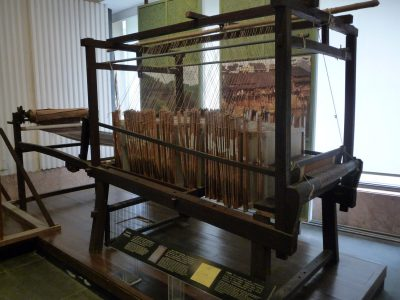 Mystery loom at Silk Museum in China.  How does this work?