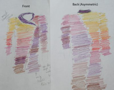 Autumn Splendor, design sketch - asymmetric front and back