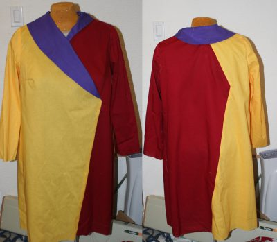 three-panel muslin, done up in colors