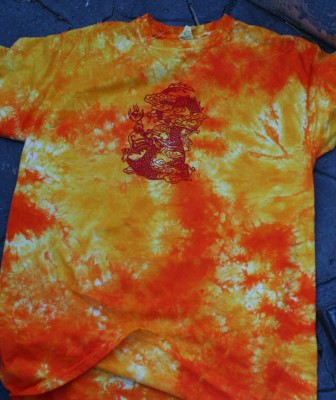my favorite: red dragon on a flame-colored T-shirt!