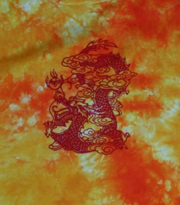 red dragon on flame-colored T-shirt