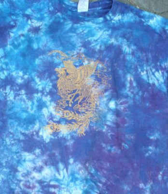 Gold phoenix, on mottled blue