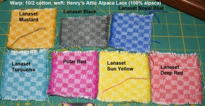 Lanaset dye samples