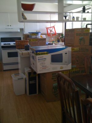 kitchen, with boxes