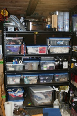 shelf full of dyeing equipment
