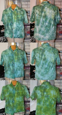 green and blue shirt, overdyed first in cerulean blue and then in kelly green