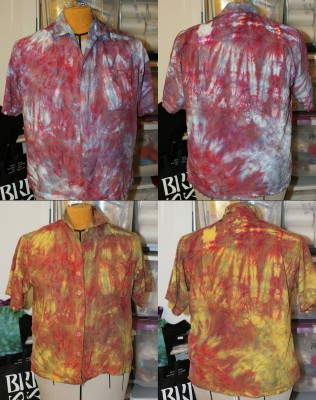 red and blue shirt, overdyed with golden yellow