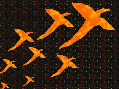flock of phoenixes, phoenix fabric background