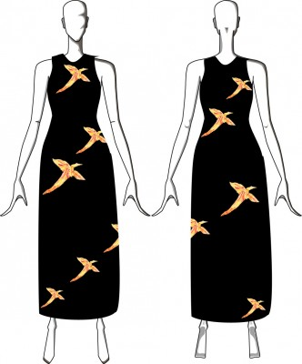 A dress with phoenixes spiraling upward